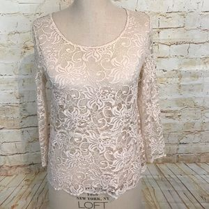 Anthro pins and needles M lace top 3/4 sleeve EUC